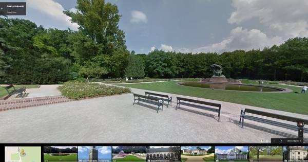 Łazienki Królewskie w Google Street View